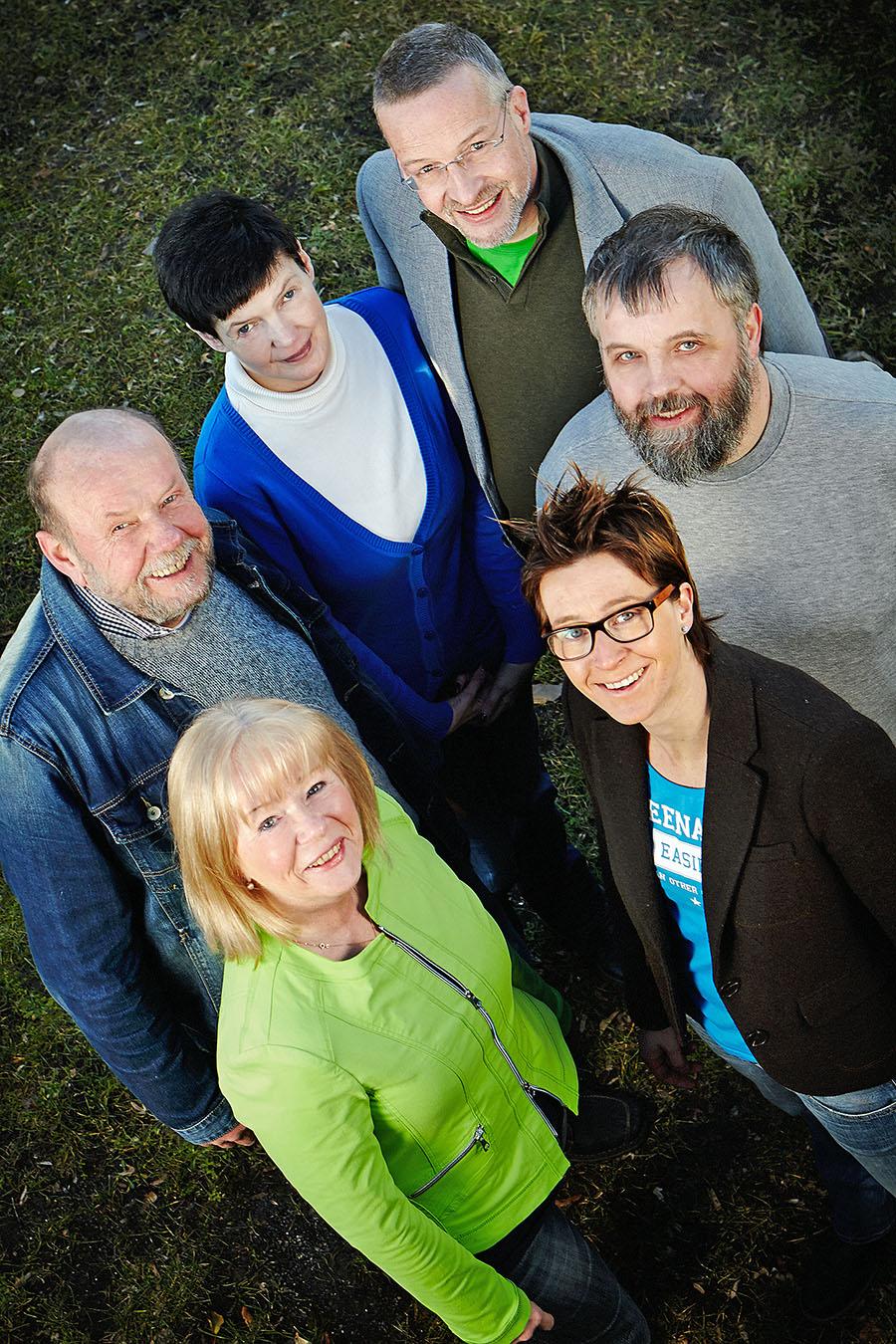 Die ersten Sechs auf der Reserveliste der Grünen: von unten links im Uhrzeigersinn: Isolde Clasvogt, Hans Wulf, Sigrid Alberti, Thomas Wälter, Thomas Schulte-Ladage, Verena Verspohl. (Foto: Grüne)