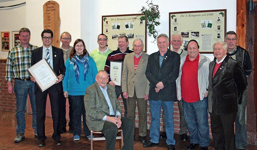 Ehrungen standen im Mittelpunkt der Generalversammlung des Musikvereins Langscheid. (Foto: MV Langscheid)