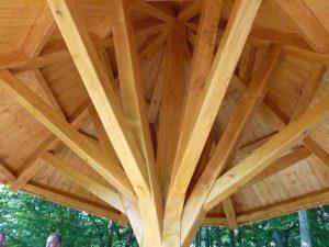 Die dachkonstruktion des Eichholzpilzes - ein eindrucksvolles Beispiel der Zimmermannskunst. (Foto: oe)