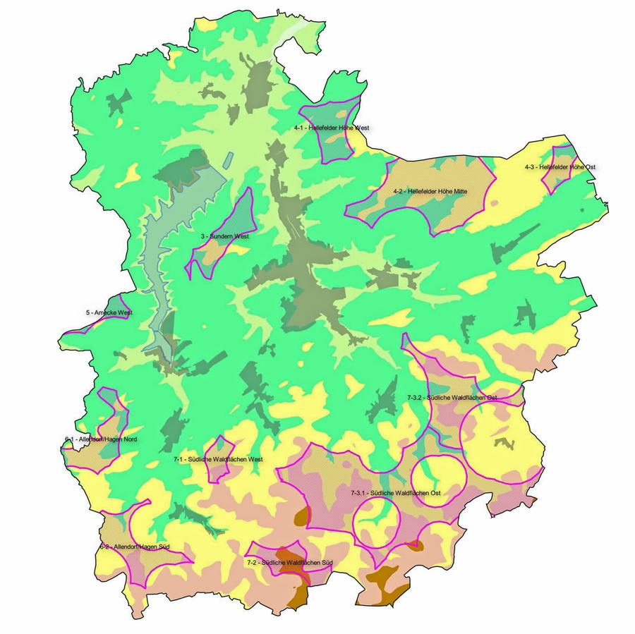 Die Karte zeigt - violett umrandet - alle zehn Potentialflächen für Windkraftnutzung im Sunderner Stadtgebiet.